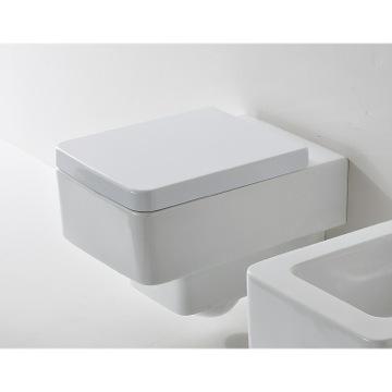 white ceramic square wall mounted toilet
