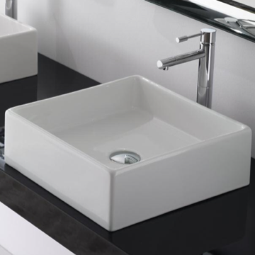 Bathroom Sink Square White Ceramic Vessel Sink 8031/40 Scarabeo 8031/40