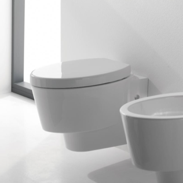 Round White Ceramic Wall Hung Toilet