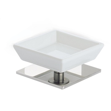 Square White Ceramic Soap Holder with Brass Base