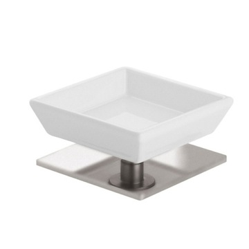 White Ceramic Soap Holder with Satin Nickel Brass Base