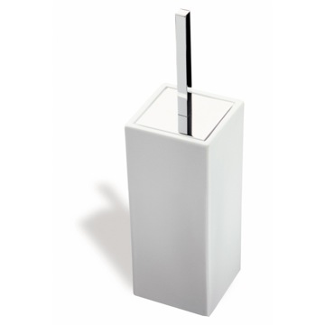 White Ceramic Toilet Brush Holder with Chrome Handle
