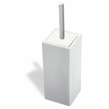 White Ceramic Toilet Brush Holder with Satin Nickel Handle
