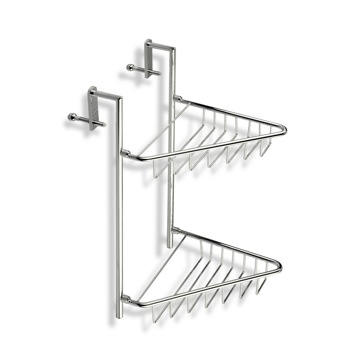Shower Basket Over-the-Door Chrome Wire Corner Double Shower Basket 659 StilHaus 659