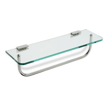 Clear Glass Bathroom Shelf with Towel Bar
