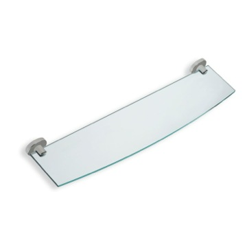 Clear Glass Bathroom Shelf with Satin Nickel Brass Holder