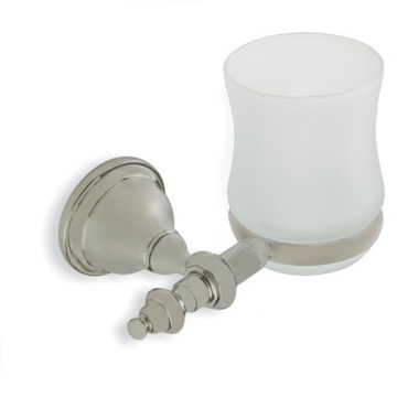 Satin Nickel Classic Style Wall Mounted Frosted Glass Toothbrush Holder or Tumbler
