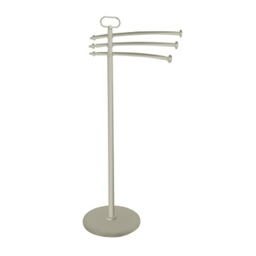 Satin Nickel Free Standing Classic-Style Brass Towel Stand
