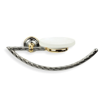 Classic-Style Brass Towel Ring with Soap Dish