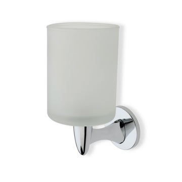 Wall Mounted Round Frosted Glass Toothbrush Holder with Brass
