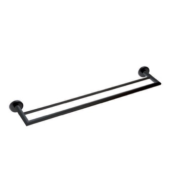 24 Inch Matte Black Double Towel Bar