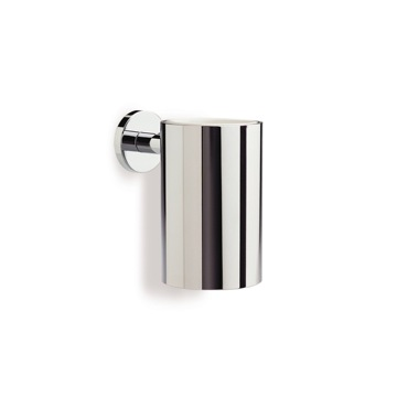 Chrome Wall Mounted Round Brass and Ceramic Toothbrush Holder