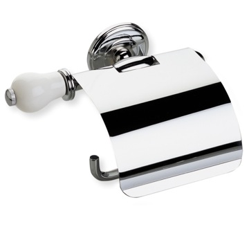 Chrome Toilet Roll Holder with Cover and End Cap