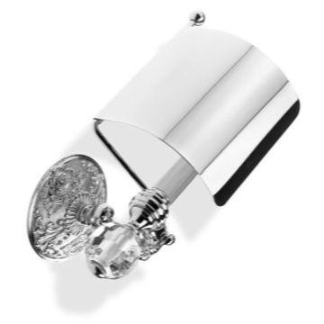 Luxury Toilet Roll Holder with Cover and Crystal Glass End Cap