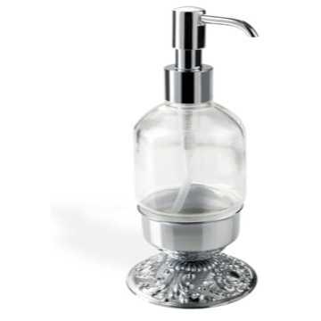 Round Free Standing Crystal Glass Liquid Soap Dispenser