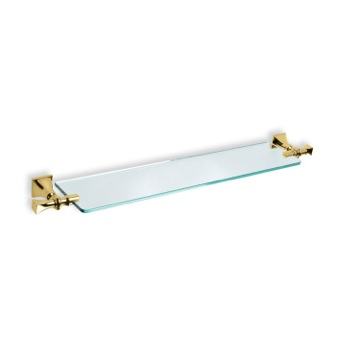 Classic Clear Glass Bathroom Shelf with Gold Mounting