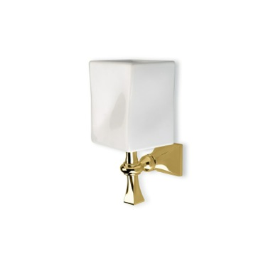 White Wall Mounted Ceramic Toothbrush Holder With Gold Mounting
