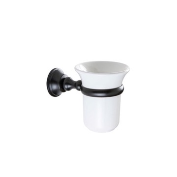 Wall Mounted White Ceramic Toothbrush Holder with Black Brass Mounting