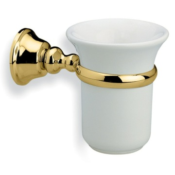 Wall Mounted White Ceramic Toothbrush Holder with Gold Brass Mounting