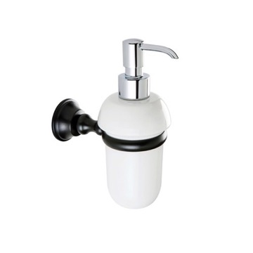 White Ceramic Soap Dispenser with Black Brass Mounting