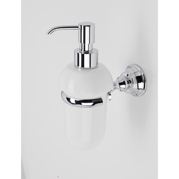 White Ceramic Soap Dispenser with Chrome Brass Mounting