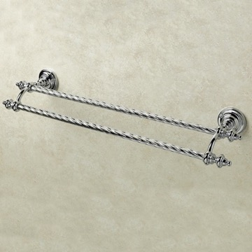 24 Inch Classic-Style Brass Double Towel Bar