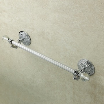 22 Inch Wall Mounted Brass and Crystal Glass Towel Bar