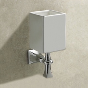 Wall Mounted White Ceramic Toothbrush Holder With Chrome Mounting