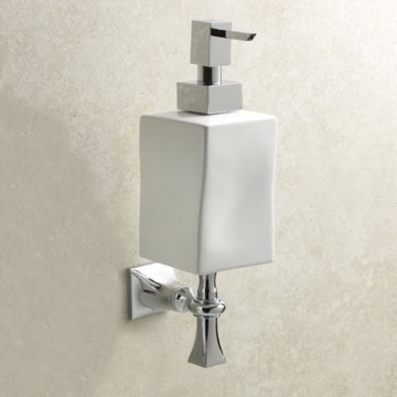 Wall Mounted Chrome and White Ceramic Soap Dispenser