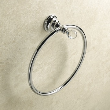Chrome Towel Ring with Crystal