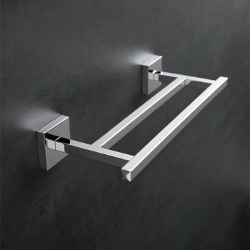 12 Inch Square Double Towel Bar in Chrome