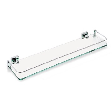 Clear Glass Bathroom Shelf with Chrome Brass Holder