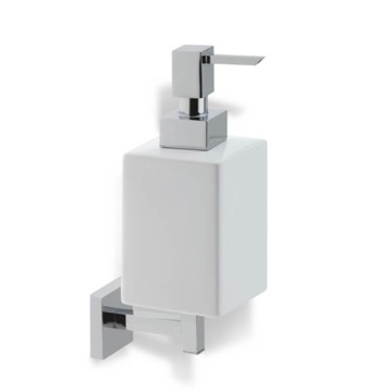Chrome Wall Mounted Square White Ceramic Soap Dispenser