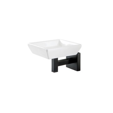 Wall Mounted Ceramic Soap Dish with Black Brass