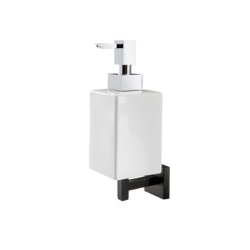 Black Wall Mounted Square White Ceramic Soap Dispenser