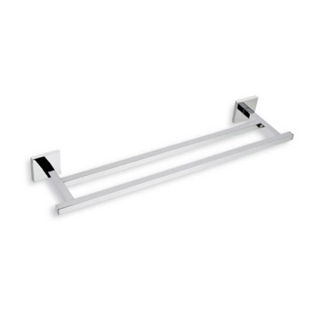 Double Towel Bar 12 Inch Square Double Towel Bar in Chrome or Satin Nickel U06.2 StilHaus U06.2