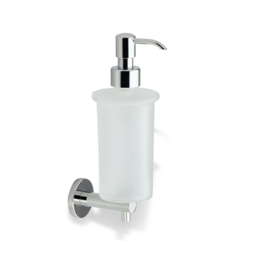 Chrome Wall Mounted Frosted Glass Soap Dispenser with Brass Mounting