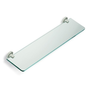 Satin Nickel Clear Glass Bathroom Shelf