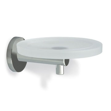 Satin Nickel Wall Mounted Round Frosted Glass Soap Dish with Brass