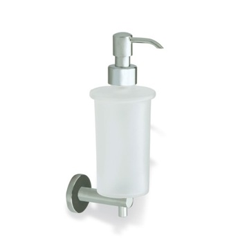 Satin Nickel Wall Mounted Frosted Glass Soap Dispenser with Brass Mounting