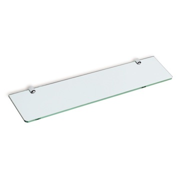 Square 24 Inch Clear Glass Bathroom Shelf