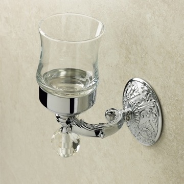 Crystal Glass Wall Mounted Toothbrush Holder/Tumbler