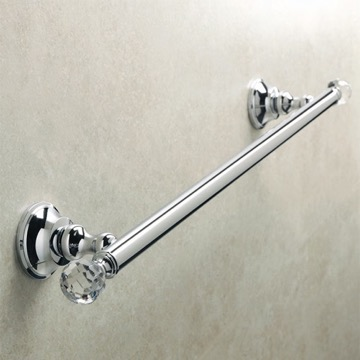Chrome Brass 20 Inch Towel Bar with Crystals