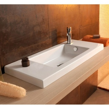 Bathroom Sink Rectangular White Ceramic Wall Mounted, Vessel, or Built-In Sink 3501011 Tecla 3501011