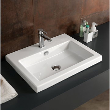 Bathroom Sink Rectangular White Ceramic Wall Mounted, Vessel, or Built-In Sink CAN01011 Tecla CAN01011