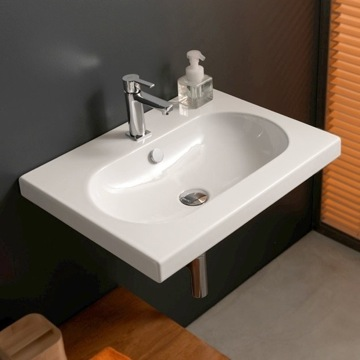 Bathroom Sink Rectangular White Ceramic Wall Mounted, Vessel, or Built-In Sink EDW1011 Tecla EDW1011