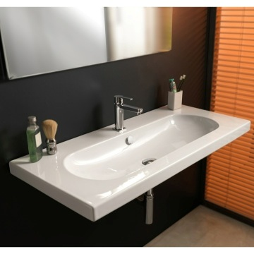 Bathroom Sink Rectangular White Ceramic Wall Mounted, Vessel, or Built-In Sink EDW3011 Tecla EDW3011
