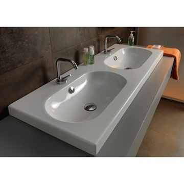 Bathroom Sink Rectangular Double White Ceramic Self Rimming, Wall Mounted or Vessel Bathroom Sink EDW4011 Tecla EDW4011