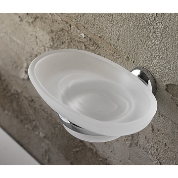 Wall Mounted Oval Frosted Glass Soap Dish