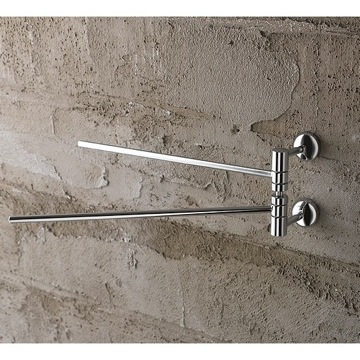 12 Inch Polished Chrome Double Arm Swivel Towel Bar